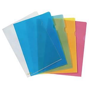 Pochette coin Lyreco Premium, A4, PP 15/100e, bleue, les 25 chemises