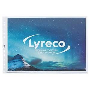 Plastlomme Lyreco, med huller, A3, 80 µm tværformat, pose a 10 stk.