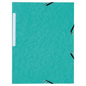 LYRECO PRESSBOARD GREEN A4/FOOLSCAP 3-FLAP FILES WITH ELASTIC - PACK OF 10