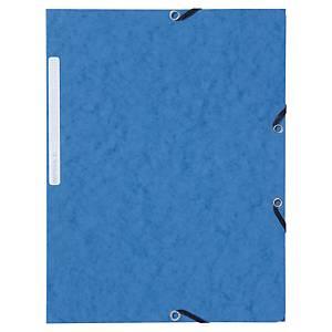Lyreco elastomap, 3 kleppen, 2 sluitelastieken, A4, karton, blauw, 10 mappen