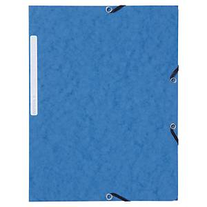 Lyreco Pressboard Blue A4/Foolscap 3-Flap Files With Elastic - Pack Of 10