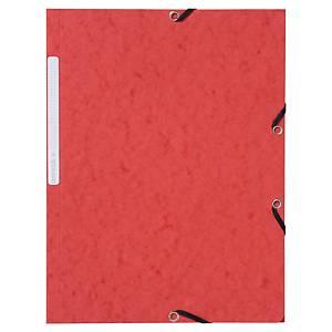 Lyreco elastomap, 3 kleppen, 2 sluitelastieken, A4, karton, rood, 10 mappen