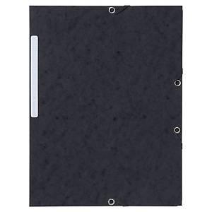 Lyreco Pressboard Black A4/Foolscap 3-Flap Files With Elastic - Pack Of 10