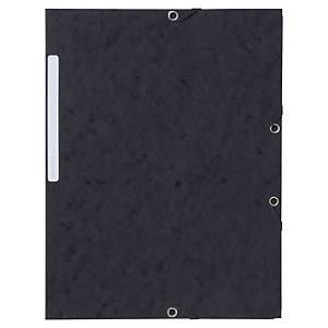 LYRECO PRESSBOARD BLACK A4/FOOLSCAP 3-FLAP FILES WITH ELASTIC - PACK OF 10