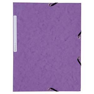 Lyreco chemises à 3 rabats avec élastiques carton 355g violet - paquet de 10