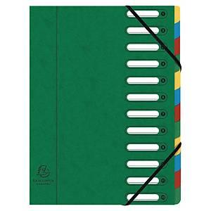 Exacompta Harmonika sorteermap met 12 vakken, A4, karton 425 g, assorti kleuren