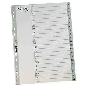 Lyreco A - Z (német ábécé) elválasztólap, PP, A4, fehér