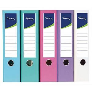 Classeur à levier Lyreco - dos 8 cm - coloris pastel - lot de 10