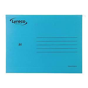 Dossiers suspendus Lyreco Premium pour tiroirs, A4, fond V, bleus, 25 pièces