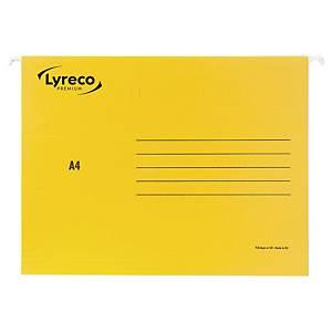 Dossiers suspendus Lyreco Premium pour tiroirs, A4, fond V, jaunes, 25 pièces