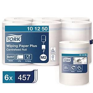Tork Wiper Plus poetsdoek, 2-laags, wit, 457 vellen, per 6 rollen