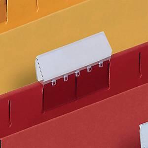 Plastové náhradné štítky (na pap. etikety) pre závesné obaly, balenie 25 kusov