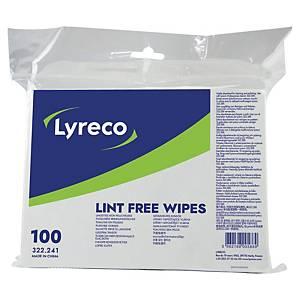 Lyreco zachte reinigingsdoekjes, absorberend, pluisvrij, pak van 100 doekjes