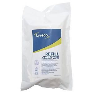 Fazzoletti imbevuti Lyreco con detergente antistatico - refill da 100