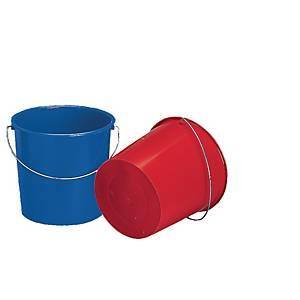 Emmer in polyethyleen, 10 l, blauw of rood assorti, per stuk