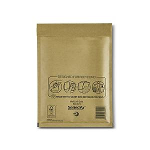 Mail Lite Bubble Lined Gold Postal Bags D1 180X260mm Box of 100