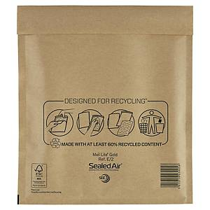 Pack de 100 envelopes com bolhas - 220 x 260 mm - castanho