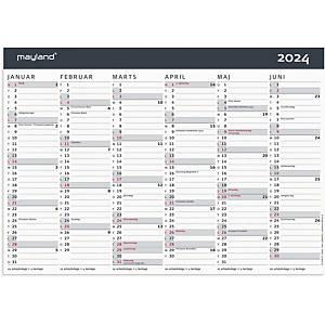 Kalender Mayland 0590 50, 2 x 6 måneder, 2021, A4, grå