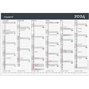 Kalender Mayland 0631 00, 2 x 6 måneder, A3, grå