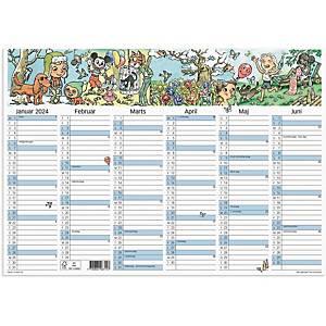 Vægkalender Mayland 0631 50, 2 x 6 måneder, 2019/20, A3, med illustrationer