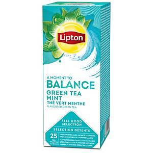 Lipton groene thee met munt, doos van 25 theezakjes