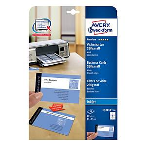 Oboustranně potisknutelné vizitky Avery Quick & Clean™, 80 ks/bal