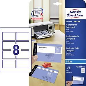 PK80 AVERY C32015 INKJET B/CARDS WHITE