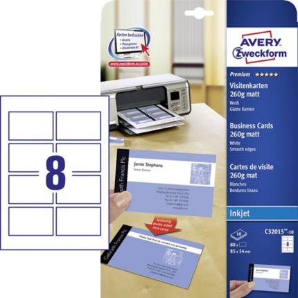 Avery C32015 10 Weiße Visitenkarten 85 X 54 Mm 80 Stück Packung