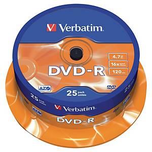 DVD-R Verbatim 4,7 Go (120 min.), vitesse 16x,  cloche de 25