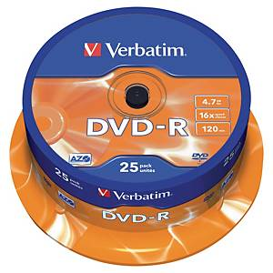 Płyta DVD VERBATIM DVD-R 16x, w opakowaniu 25 sztuk