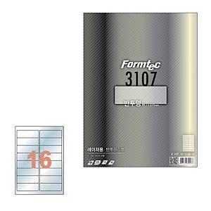 폼텍 레이져 반투명라벨 LC-3107 16칸 10매