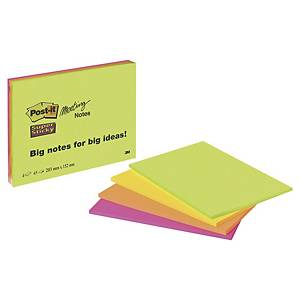 Post-it® Super Sticky Meeting Notes 6845SSP, neon kleuren, 203x152 mm, per 4
