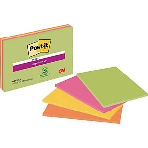 Post-it® Super Sticky Meeting Notes, neon kleuren, 200 x 149 mm, per 4 blokken