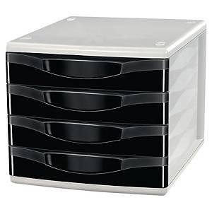 Zásuvkový modul Lyreco, 4 zásuvky, černý