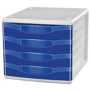 Módulo de organização Lyreco - 4 gavetas - azul
