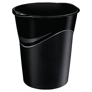 Corbeille à papier Lyreco ovale en plastique, 14 l, noire