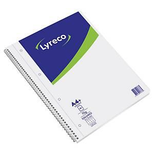 Cahier spirale Lyreco A4+ - 160 pages perforées détachables - quadrillé