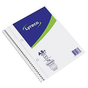 Cahier spirale Lyreco A5+ - 160 pages perforées détachables - quadrillé