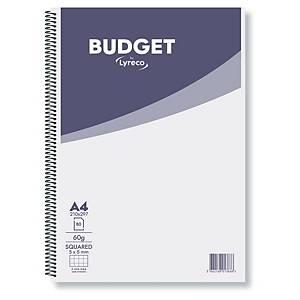 Cahier spiralé Lyreco Budget A4, carreaux 5 x 5 mm, 80 feuilles