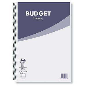 Zápisník Lyreco Budget A4 čtverečkovaný se spirálou, 60g/m2, 80 stran