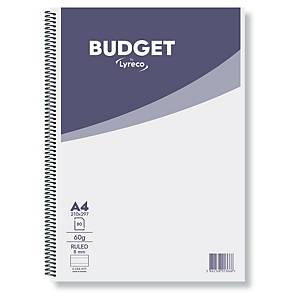 Zápisník Lyreco Budget A4 linkovaný se spirálou, 60g/m2, 80 stran