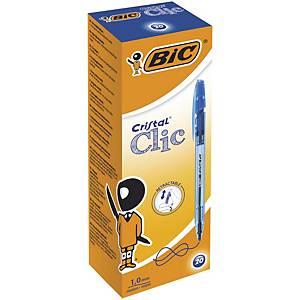 Bic Cristal Clic Retractable Ballpoint Pens Medium (1.0 mm) Blue, Box 20