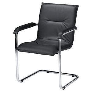 Chaise visiteur Prossedia V409 - cuir - noire