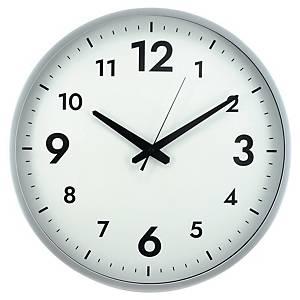 Nástěnné hodiny velké,  bílostříbrné, průměr 40 cm