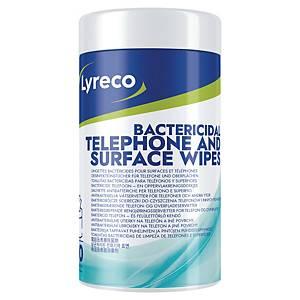 Lingettes bactéricides pour téléphones et surfaces Lyreco, pack de 70 piècess