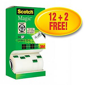 Klebeband Scotch Magic 810, 19 mmx33 m, beschriftbar, 12+2 gratis, Pk. à 14 Stk.