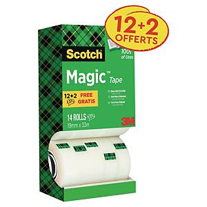Ruban adhésif invisible Scotch Magic - 19 mm x 33 m - 12 rouleaux + 2 offerts