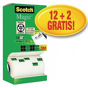 Taśma klejąca SCOTCH 810 Magic matowa, 19 mm x 33 m, zestaw 12 rolek + 2 rolki