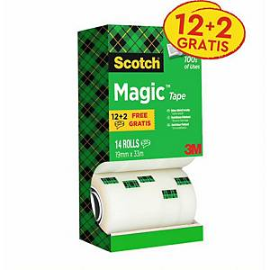 Pack 14 rolos de fita adesiva invisível Scotch Magic - 19 mm x 33 m
