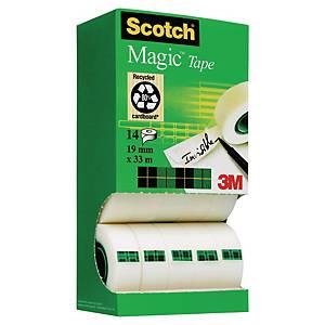 Pack 12+2 rollos de cinta adhesiva invisible Scotch Magic - 19mmx33m